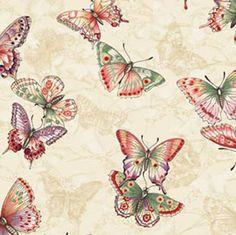 Tea House by Benartex - Butterfly Dance Cream