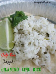 Cafe Rio {Copycat} Cilantro Lime Rice.  I threw this in my rice cooker and it turned out awesome!  just like Cafe Rio!