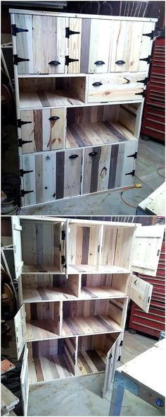This is a brilliant project that can be easily made at home by upcyling wood pallet into a big storage cabinet. It has enough space to hold all the items at one place. It has two upper cabinets, four middle drawers and two lower cabinets. Pallet Crafts, Diy Pallet Projects, Woodworking Projects, Woodworking Shop, Recycled Pallets, Wooden Pallets, Pallet Wood, Pallet Hutch, Diy Pallet Furniture