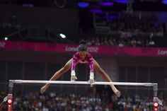 Gabby Douglas, of the U.S., competing in the uneven bars in the women's gymnastics individual all-around finals at the 2012 Summer Olympic Games, in London, Aug. 2, 2012.