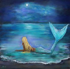 Mermaid Art Print Mermaid Painting Print Blonde Mermaid