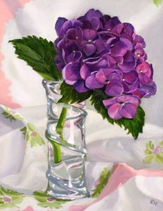 hydrangea painting on canvas | Hydrangea, oil on canvas, 14 x 12 inches