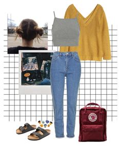 """""""art hoe-ish"""" by lewiser ❤ liked on Polyvore featuring H&M, Topshop, Fjällräven and Birkenstock"""