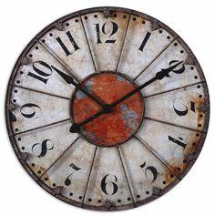 Rustic Paintings   Crackled Ivory Rustic Bronze Wall Art Clock