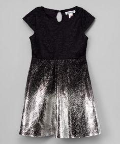 Look at this #zulilyfind! Black Glitter Lace Cap-Sleeve Dress - Infant, Toddler & Girls by kensie #zulilyfinds