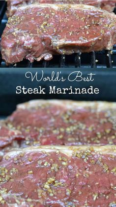 Worlds Best Steak Marinade This truly is the Worlds Best Steak Marinade Try it once and it will become a recipe you use over and over for years Absolutely delicious Pin f. Steak Braten, Steak Marinade Recipes, Steak Rubs, Marinade Sauce, Grilled Steak Recipes, Marinated Steak, Grilling Recipes, Meat Recipes, Cooking Recipes