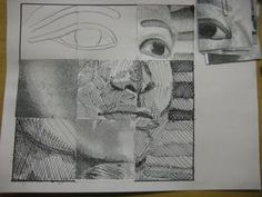 Elements of Art: Line. Beg Drawing - modified grid drawing - could do this using boxes to reinforce elements of art - diff types of lines, diff colour theory boxes etc. Drawing Projects, Drawing Lessons, Art Lessons, Basic Drawing, Teaching Drawing, Teaching Art, Middle School Art, Art School, High School Drawing