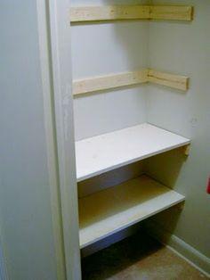 diy shelves A simple closet makeover for the kids. Hallway Closet, Kid Closet, Closet Bedroom, Closet Ideas, Diy Bedroom, Closet Office, Wardrobe Closet, Attic Closet, Bedroom Small