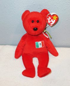 Ty 1999 Mexican OSITO BEAR Beanie Baby EAR TAG Plush Stuffed Red Animal  Flag Ear Tag 45ffcb926dcc