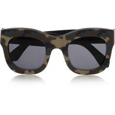 Illesteva Hamilton camouflage-print square-frame acetate sunglasses ($300) found on Polyvore