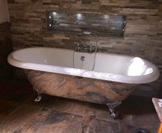 Faux finish stone painted bathtub Painted Bathtub, Clawfoot Bathtub, Stone Painting, Bespoke, Taylormade, Rock Painting