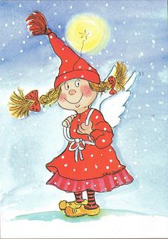 """""""Ikaros?""""  (Icarus?) Christmas Gnome, Christmas Angels, Christmas Art, Illustration Noel, Winter Illustration, Happy Paintings, Watercolor Cards, Whimsical Art, Xmas Cards"""