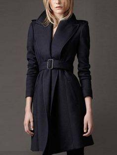 Mulheres cintura fina beliscou casaco longo casaco de lã quente upscale