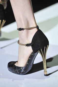 Gucci Spring 2012 RTW - black leather double ankle straps gold heels