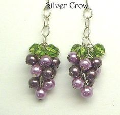 Grape cluster design earrings in mixed purples. $15.99 with free shipping.