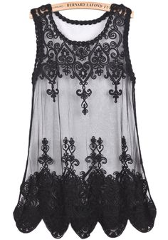 Black Sleeveless Sheer Embroidered Lace Top - Sheinside.com
