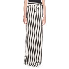 Striped Maxi Wrap Skirt ($825) ❤ liked on Polyvore featuring skirts, women's apparel skirts, long cotton skirts, long white maxi skirt, white cotton skirt, white maxi skirt and long maxi skirts