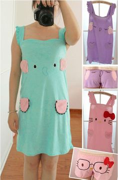 awesome Cute Sentimental Circus Elephant Hello Kitty Dress