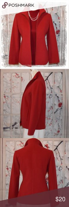Fully Lined Red Wood/Angora Zip Up Jacket Well I do love her but I will part with her at a fair price.. She is in perfect condition and I love the amazing red color. She wears will with jeans or skirts and I do love pearls with her. She measures 24 inches in length. In typical Jones New York style, she tapers in at the waist nicely for a flattering shape and her size 4 is a bit generous. I am often a 6 in other clothes but in JNY, 4 fits very well..maybe one of the reasons I like JNY so well…