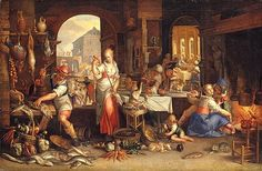Joachim Anthonisz Wttewael (1566-1639) Kitchen Scene (1605 Utrecht)