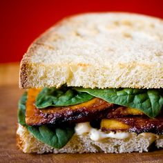 A block of Tofu and no ideas? Try this recipe to create your 'Smokey Miso Tofu' to put in your sandwiches! Best Tofu Recipes, Whole Food Recipes, Vegetarian Recipes, Cooking Recipes, Seitan, Tempeh, Tofu Dishes, Vegan Dishes, Tofu Sandwich