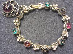 Vintage Signed ART Link Bracelet Glass Star Pearl Dangle Charm 50s