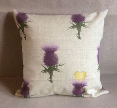 Handmade cushions, tartan, thistle, lilac. Two styles. Home decor. Made in Scotland by Giftwithlovebysian on Etsy https://www.etsy.com/uk/listing/544747065/handmade-cushions-tartan-thistle-lilac