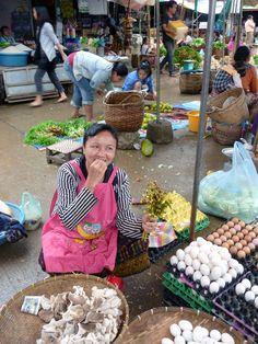 Eggs and smiles at the Luang Prabang Laos market.