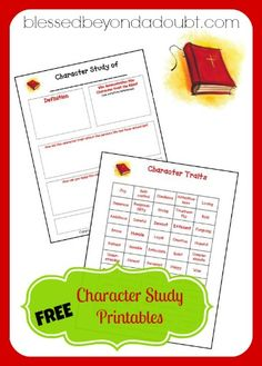FREE Character Study Printables {50 Character Traits included} - Frugal Homeschool Family