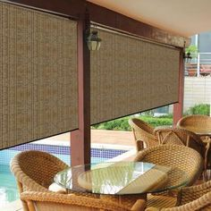 Home designing with outdoor patio roller shades Walnut Cordless Exterior Roller Shade - 120 in. W x 96 in. L:separator:Home designing with outdoor patio roller shades Outdoor Blinds, Outdoor Shade, Pergola Shade, Patio Blinds, Window Blinds, Porch Shades, Patio Sun Shades, Window Coverings, Window Treatments