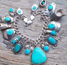 NATIVE AMERICAN STERLING SLEEPING BEAUTY TURQUOISE NAVAJO CHARM BRACELET