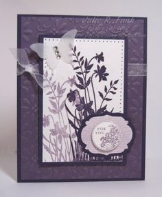 handmade card ... monochromatic purples ... silhouette flowers and a vellum butterfly ... lovely ... Stampin' Up!