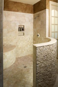 Bathroom - without glass to clean -- and aging-in-place for future