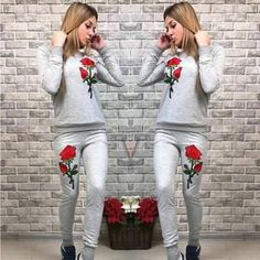 New Women Grey Flowers Embroidery 2-in-1 Drawstring Waist Casual Long Jumpsuit