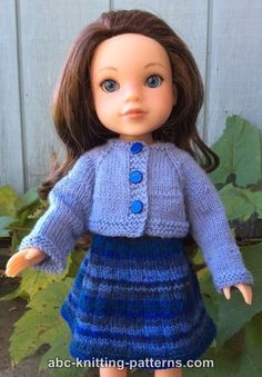 ABC Knitting Patterns - Wellie Wishers Doll Dress and Cardigan (14 inch doll)