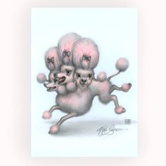 Vampoodle Cerberus - Spaticus is the Dumbest - Mab's Drawlloween Club 5 x 7 Mini Art Print by Mab Graves - Pink Poodle by mabgraves on Etsy https://www.etsy.com/listing/570777459/vampoodle-cerberus-spaticus-is-the