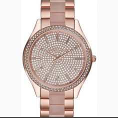Michael Kors Runway Pave Rose Gold Watch BRAND NEW WITH BOX! The tags are still attached and plastic bezel protector is on as well. There is also a booklet available. Any REASONABLE offer is accepted Michael Kors Accessories Watches