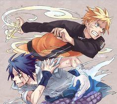 Naruto and Sasuke fanart from Emi10rankai