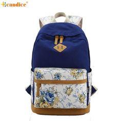7d3d120a0b6d Canvas Match Nubuck Leather Satchel Rucksack Backpacks School Bags for Girls  Female Mochila Escolar Printing Backpack School