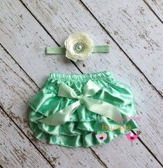 Mint Satin Bloomer Set- Headband and Bloomers- Newborn Outfit - Baby Girl Outfit - Cake smash outfit-  Photo Prop on Etsy, $18.95