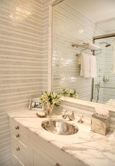 striped stone mosaic tiled walls