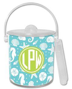 $55 Jetties Teal Lucite Ice Bucket