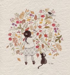 Zentangles and Art: 가을그리기 by 초록담쟁이 on Grafolio Art And Illustration, Illustration Mignonne, Illustrations, Belle And Boo, Art Mignon, Le Jolie, Korean Artist, Pictures To Draw, Cat Art