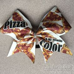 Pizza is my Favorite Color Bow // Cheer Bow // by BlingBowLove