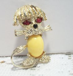 Vintage Yellow Poodle Jelly Belly Brooch Pin Retro Costume Jewelry Dog Red Eyes