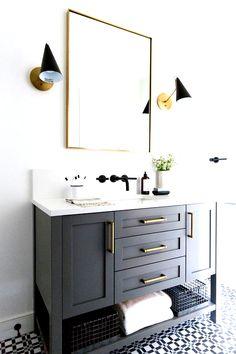 Small guest bathroom with dark custom vanity gray vanity modern traditional ba 2019 Small guest bathroom with dark custom vanity gray vanity modern traditional bathroom Modern Farmhouse Bathroom, Modern Bathroom Decor, Bathroom Interior Design, Bathroom Ideas, Budget Bathroom, Bathroom Updates, Gray Vanity, White Vanity Bathroom, Small Bathroom