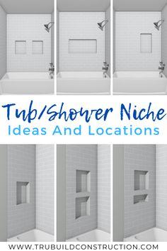 Tile Shower Niche, Bathroom Niche, Shower Tub, Large Tile Shower, Bath Tub Tile Ideas, Master Bathroom, Master Shower Tile, Gray Shower Tile, Bathroom Ideas