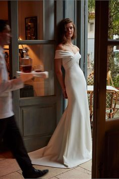 25 Pretty Perfect Off Shoulder Wedding Dresses - Aisle Perfect   ~ Thela, $900 ~~ just a bit to long for me, but love the sweet simplicity of this...