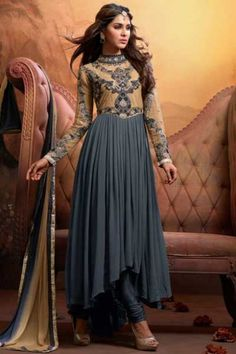 Peach Yellow and Slate Gray Faux Georgette Embroidered Anarkali Kameez Sku Code:223-4159SL346438 $ 70.00