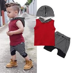 Newborn Outfit Baby Boys Clothes Set Red Hooded Sweatshirt Tops Striped Pants Sleeveless Hoodie Infant New Born Baby Clothes Set, Baby & Toddler Clothing, Toddler Outfits, Kids Outfits, Baby Outfits Newborn, Baby Boy Outfits, Baby Boy Suit, Baby Boys, Toddler Boys, Ärmelloser Pullover